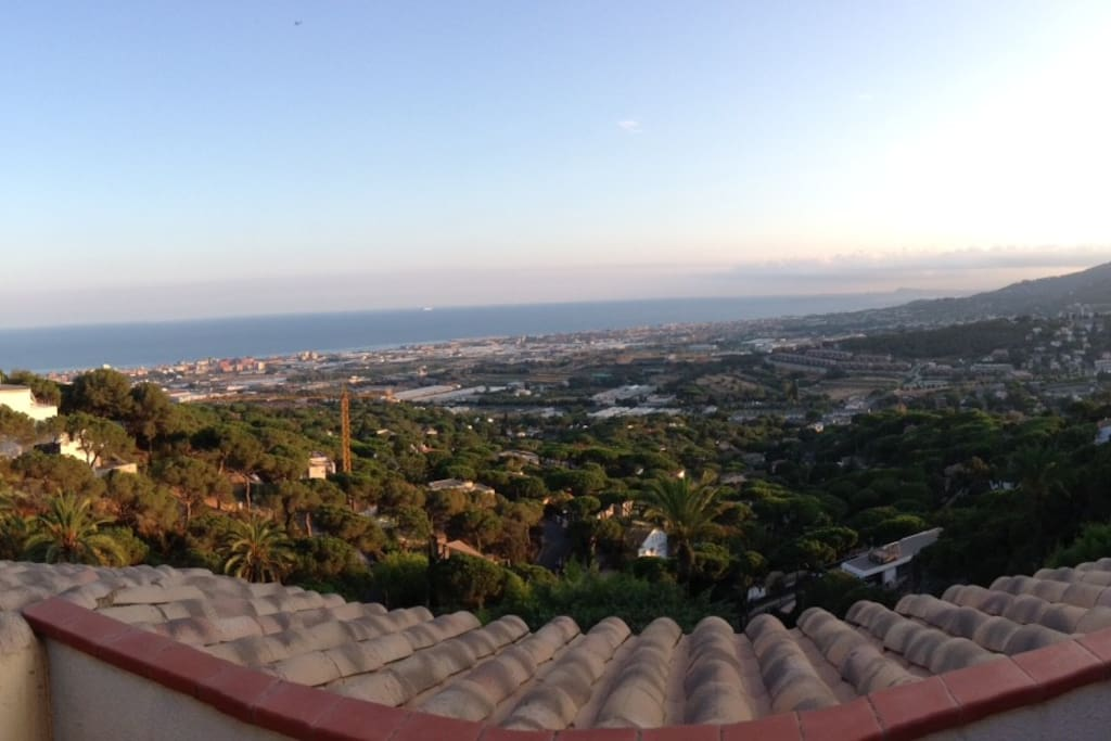 Panoramic View of Coast and Barcelona