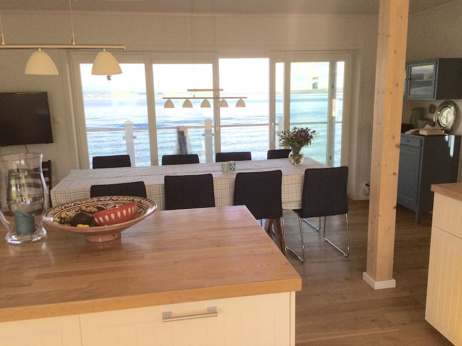 View from kitchen and dining table