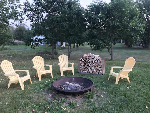 Fire pit and fire wood