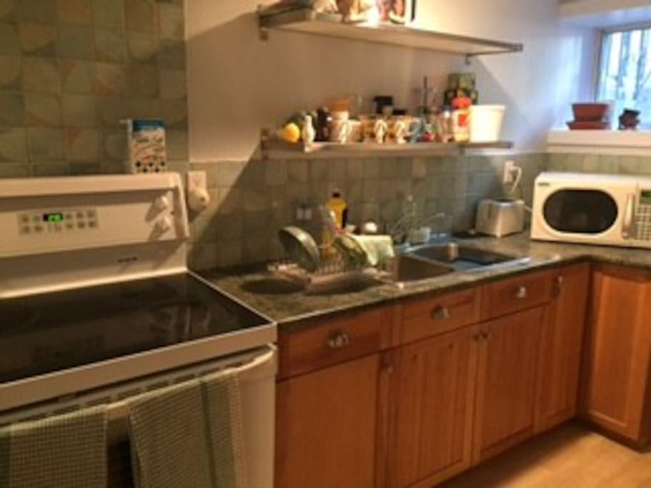 Close up of kitchen, self-cleaning oven and microwave.