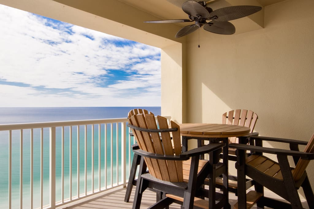 Enjoy coffee in the morning or sunset beverages from your private extended balcony
