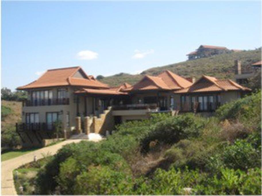 View on arrival, luxurious Zimbali Beach Villa, with a walk to the beach.