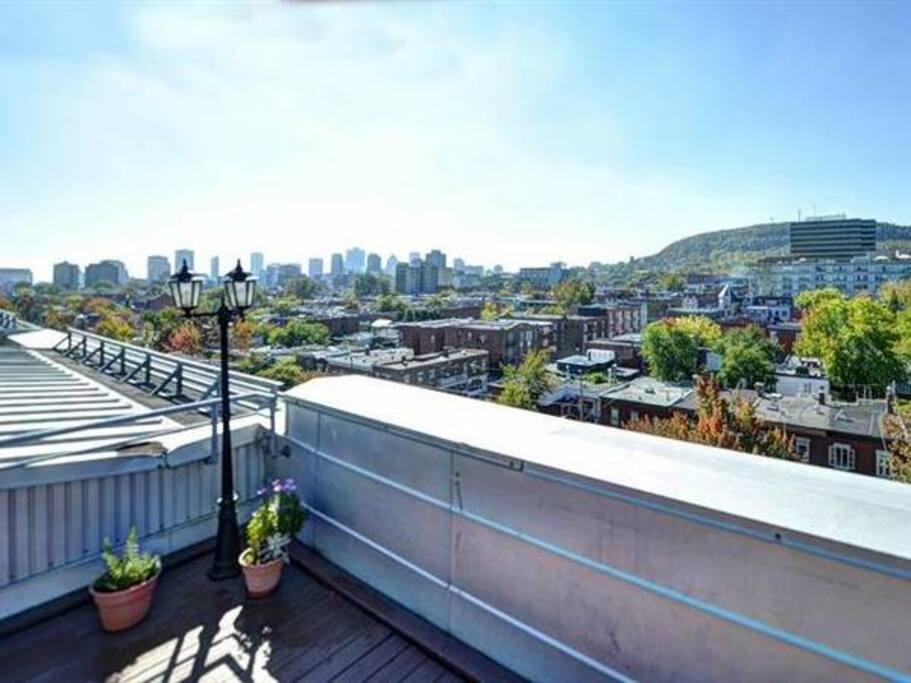 the best part! rooftop terrace overlooking Montreal!