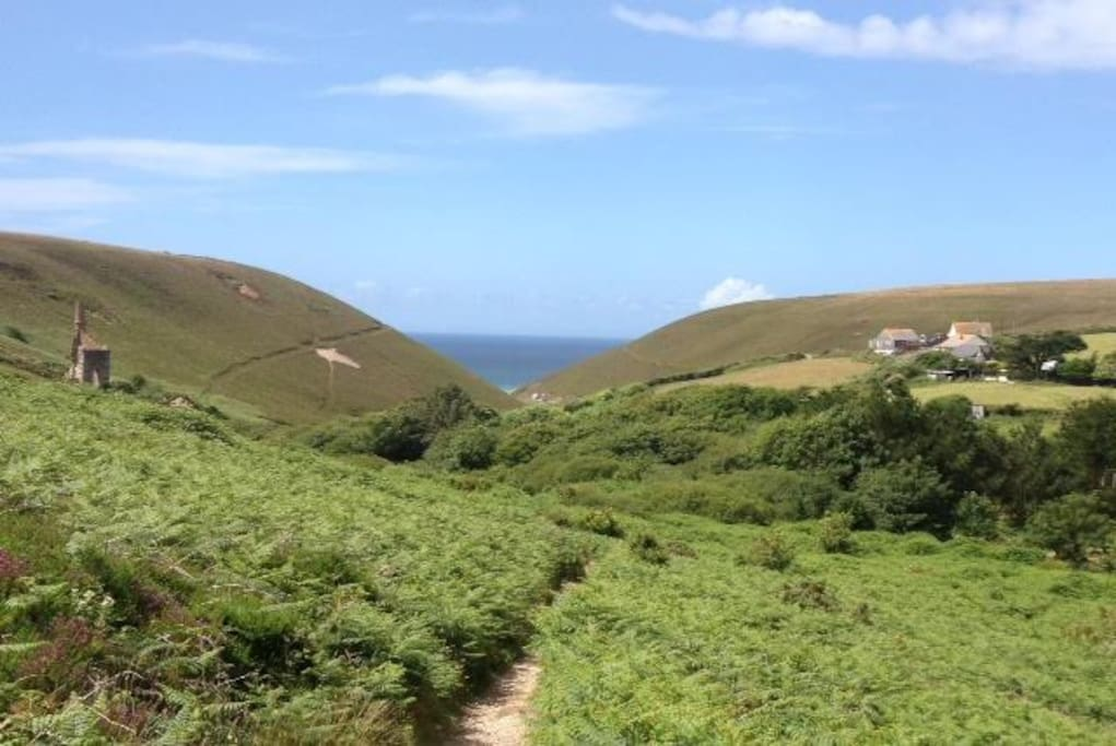 Beautiful walks, house is on RHS with view of old Cornish tin mine