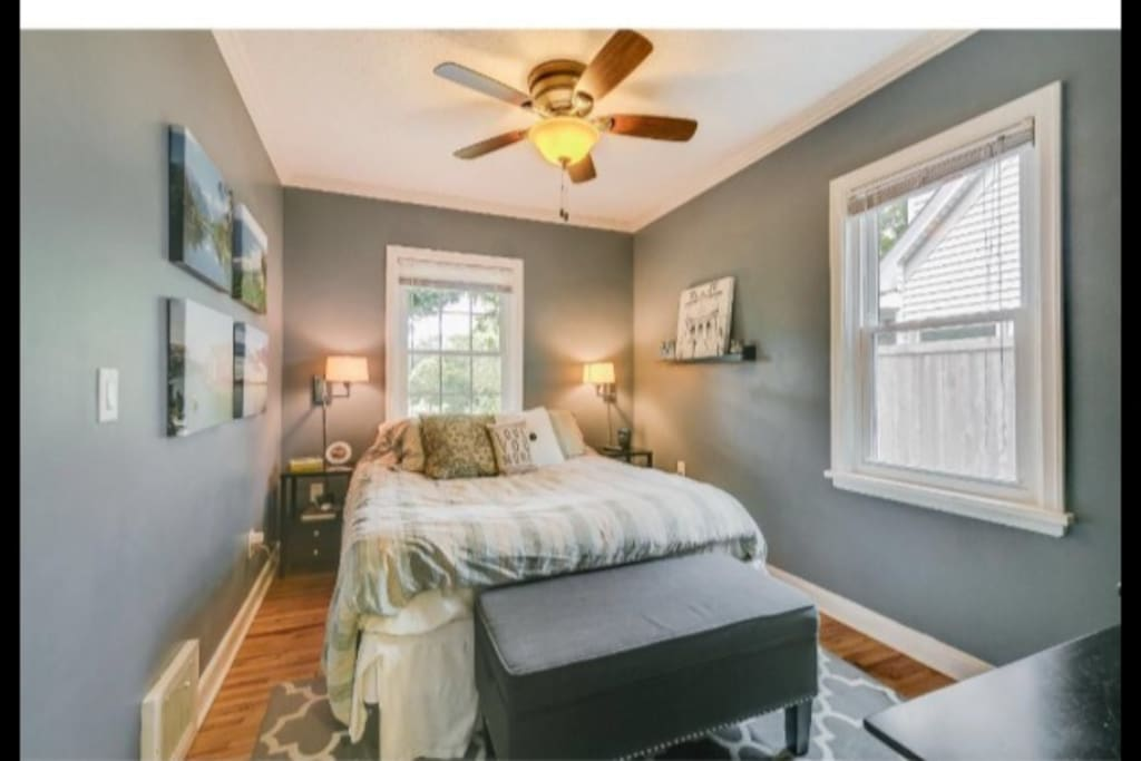 Master bedroom - Queen sized bed, and 55-inch TV