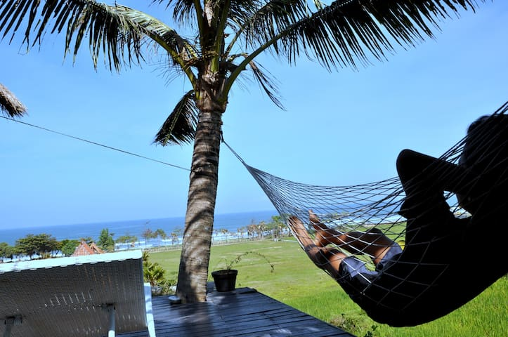 Hammock under coconut trees with ocean view at our house
