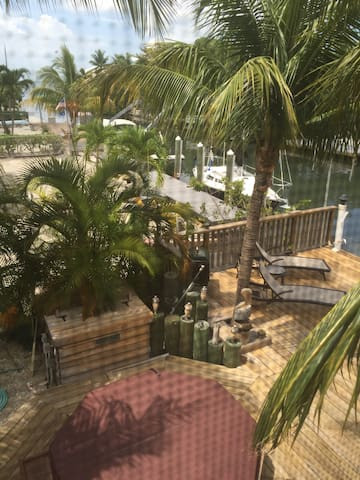 Picture taken from the balcony looking down at our hot tub area - looking out at the bay.  Great anytime of the day.