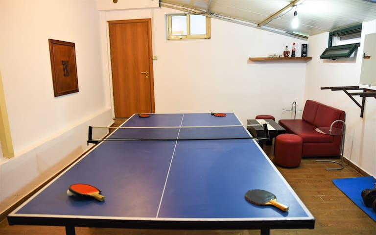 Ping- pong table in the indoor gym