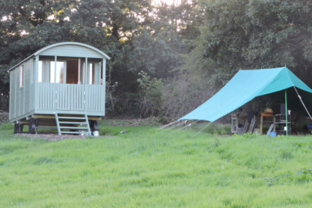 Shepherds hut and catering tent