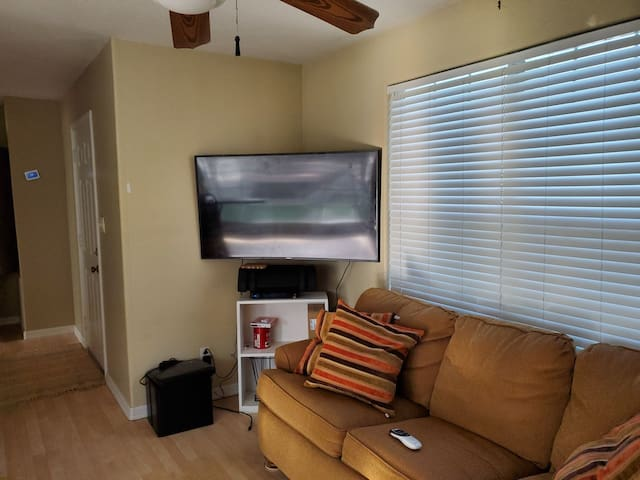 This is the living room space with the smart TV and sleeper sofa.  Wifi ready!