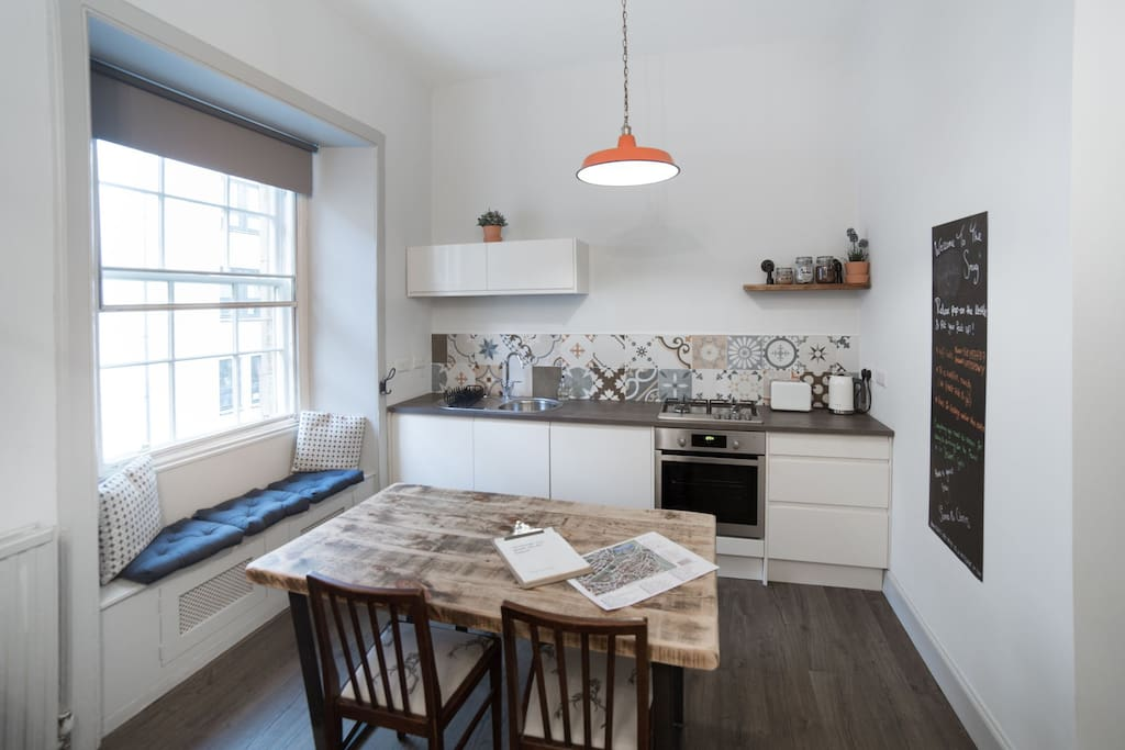 Laid back cooking style; perfect for lazy breakfasts or a relaxing tea and cake post Arthur's Seat