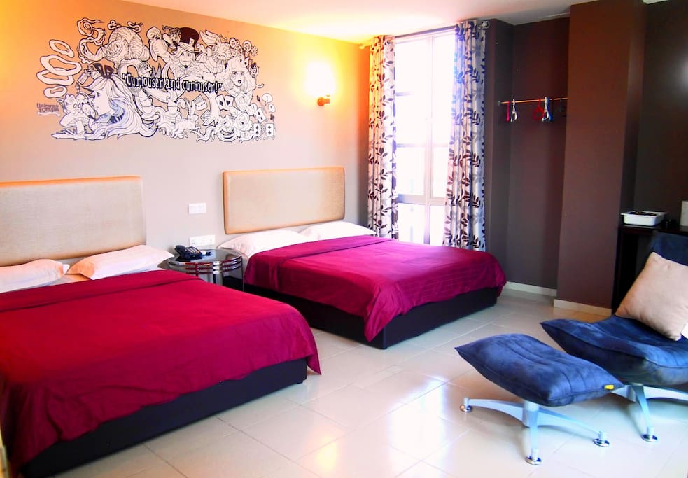 Modern and comfortable room with twin bedding