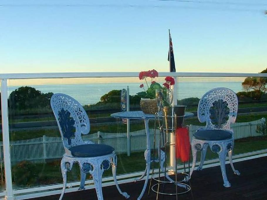 Guests can relax on our sundeck with a lovely glass of Tasmanian wine