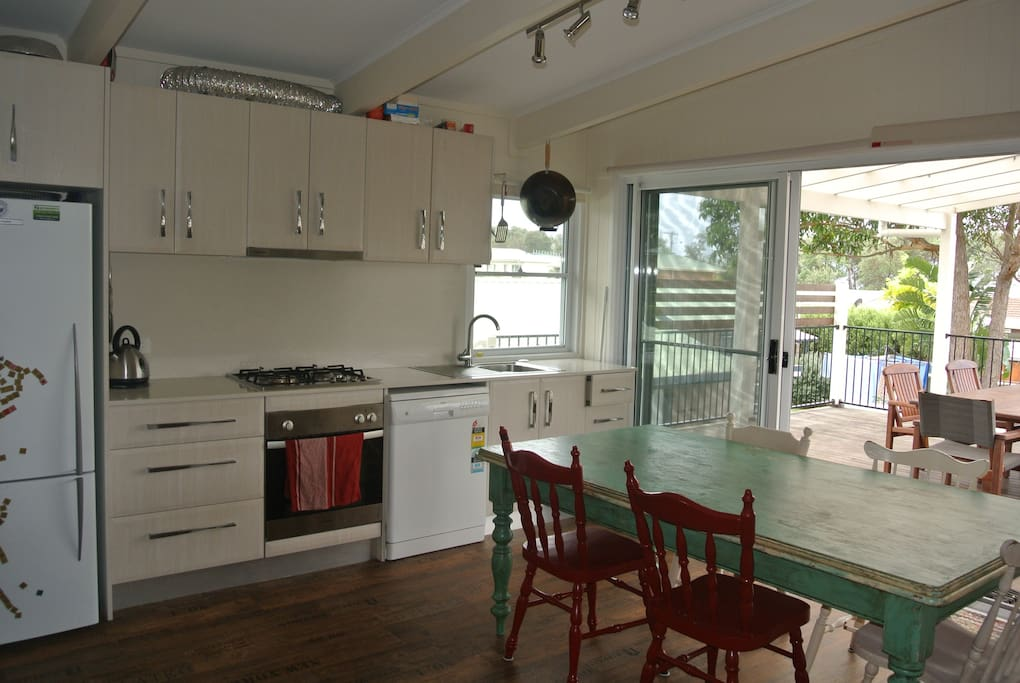 Kitchen with quality cooking facilities and dining.