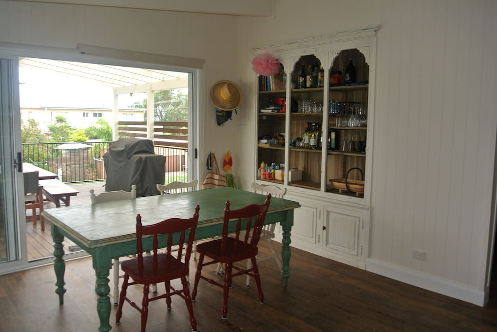Dining area leading to deck.