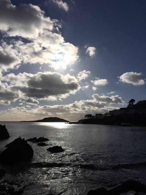 Looking back towards Hannafore from Looe beach.