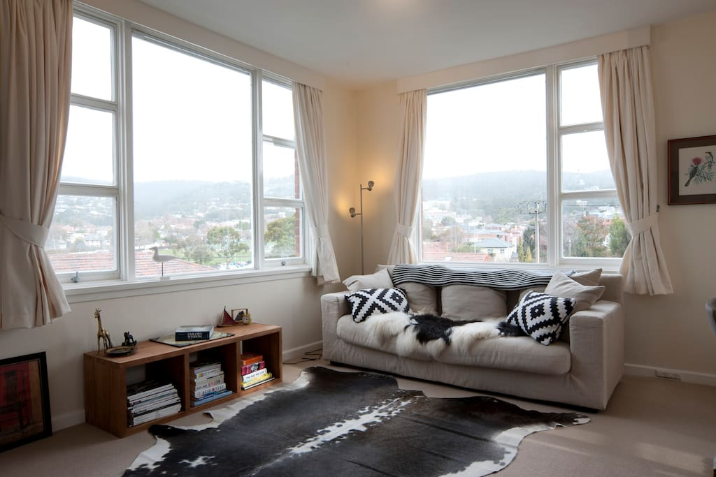 Comfortable living space overlooking the university and yacht clubs.