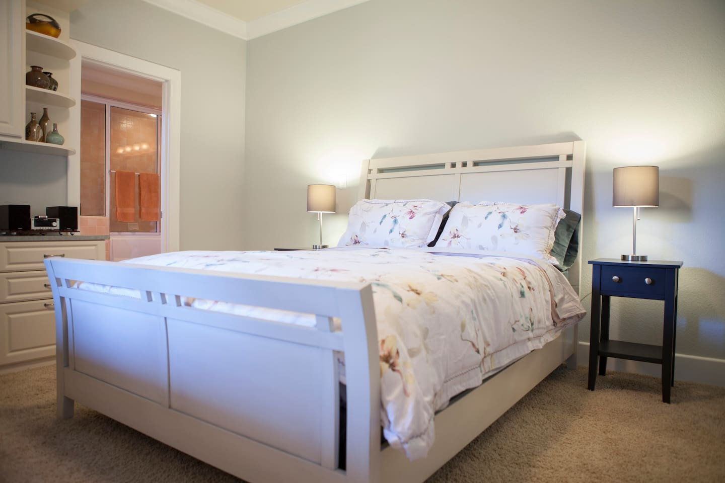 Spacious, 200 square foot (22 m2) newly remodeled bedroom with queen bed and high quality mattress.