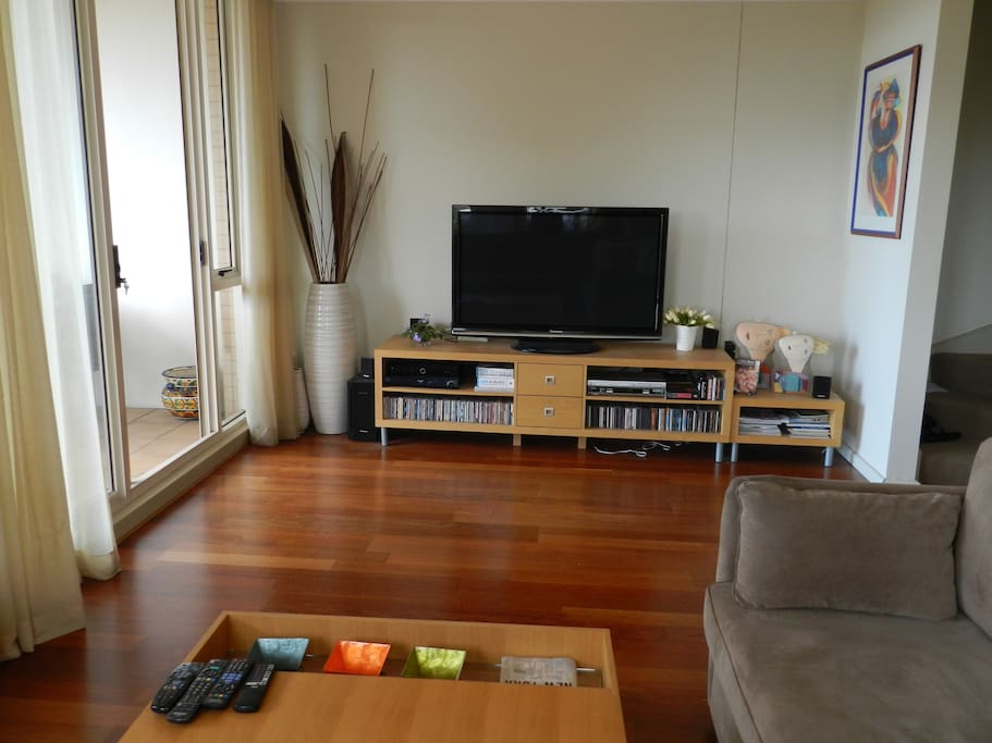 Widescreen TV with  premium Foxtel and DVD player