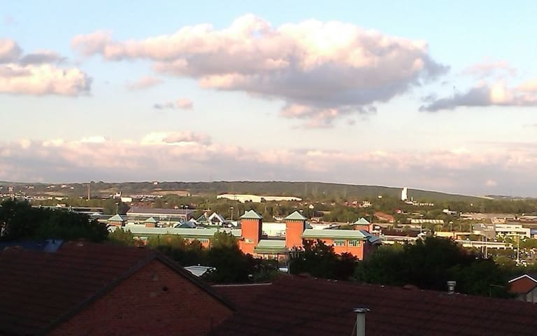 View from your skylight - Meadowhall shopping mall (with green roof) nearby