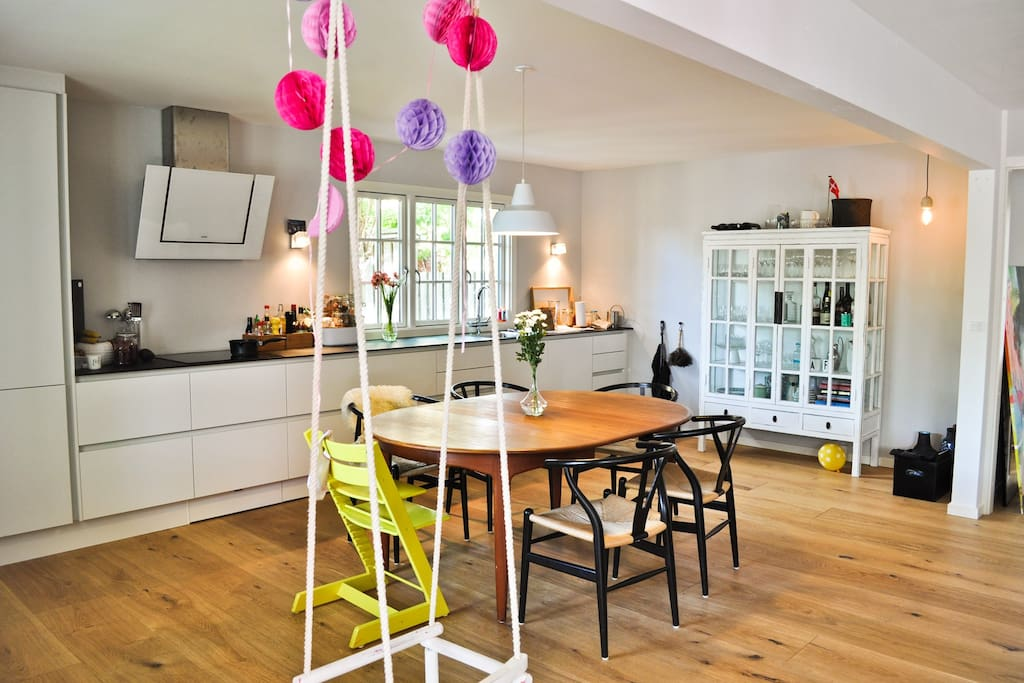 Kitchen with swing for the kids. Can be taken down.