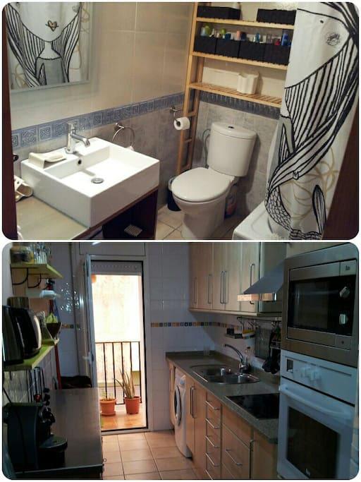 Cocina equipada con todo, lavaplatos, microondas, horno, nespresso, hervidor etc...