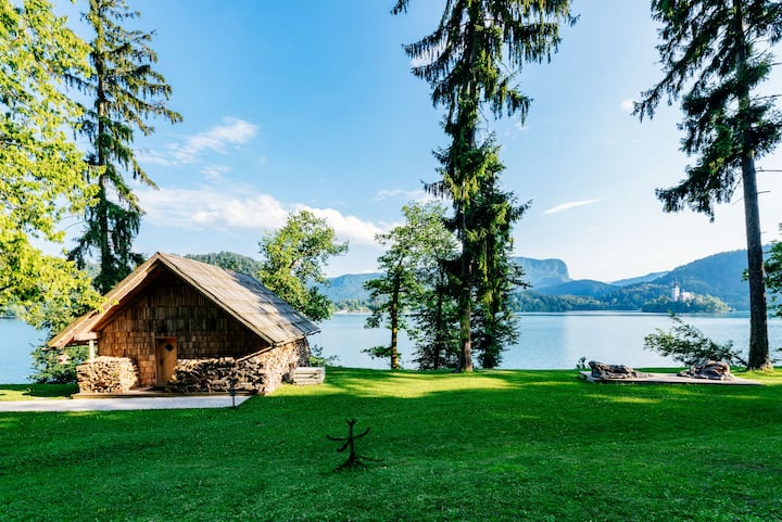 Private beach house on Lake Bled