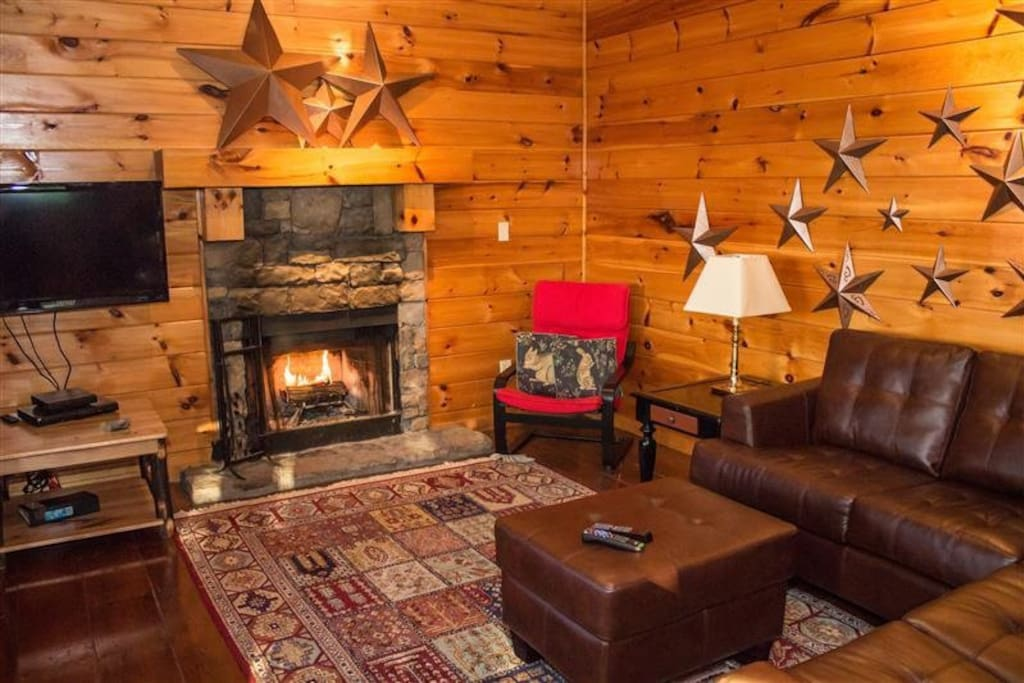 Wood burning fireplace, with modern amenities