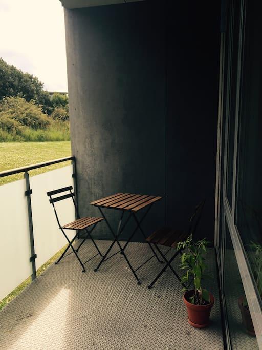 The private balcony.