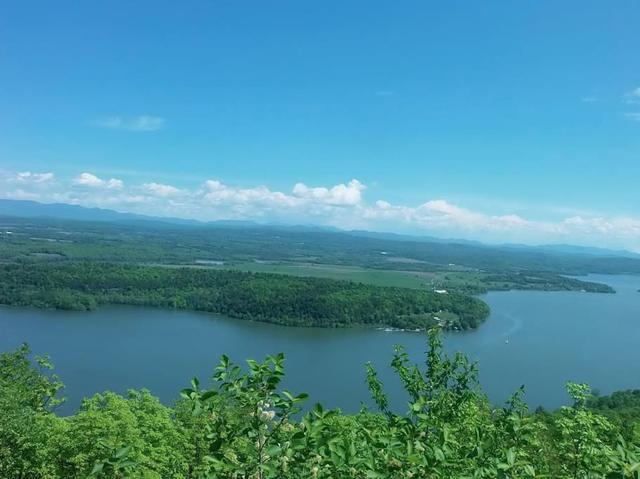 view of lake from the top of mountain