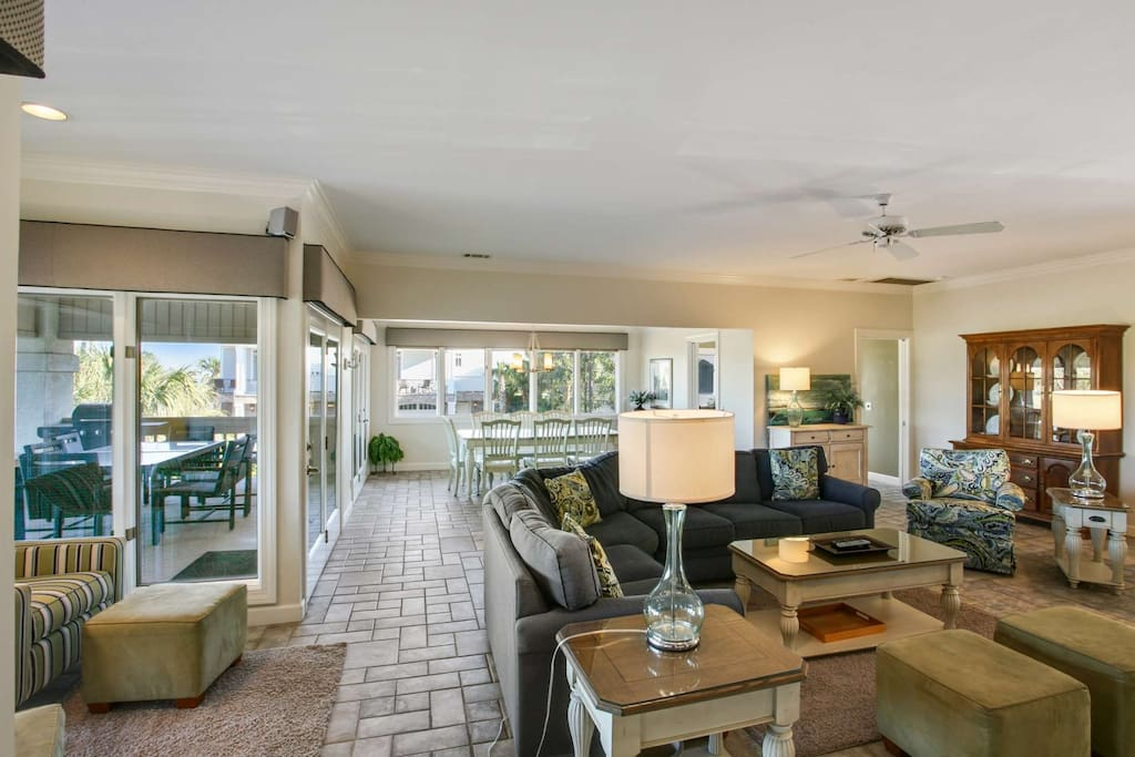 Open Family and Dining Room with access to covered patio