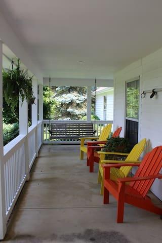 Front Porch shared space.  Watch deer, wild turkey, birds and other wildlife.