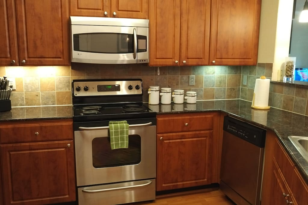 Kitchen has everything from pots n pans to dishes etc.