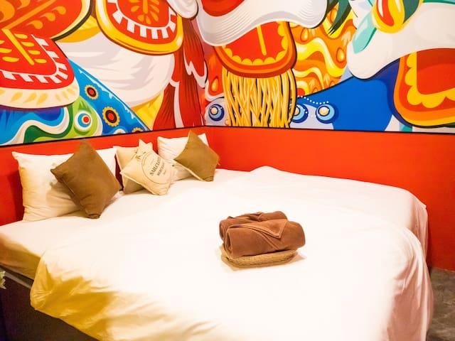 大床房/pattaya芭提雅市中心唐人街酒店公寓/出门无需步行/步行海滩步行蒂芬妮步行21购物中心