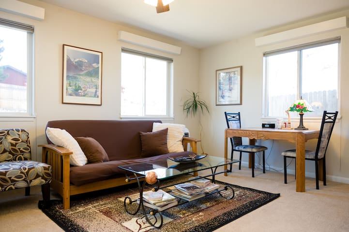 Full sized futon. Comfortable room with lots of light.