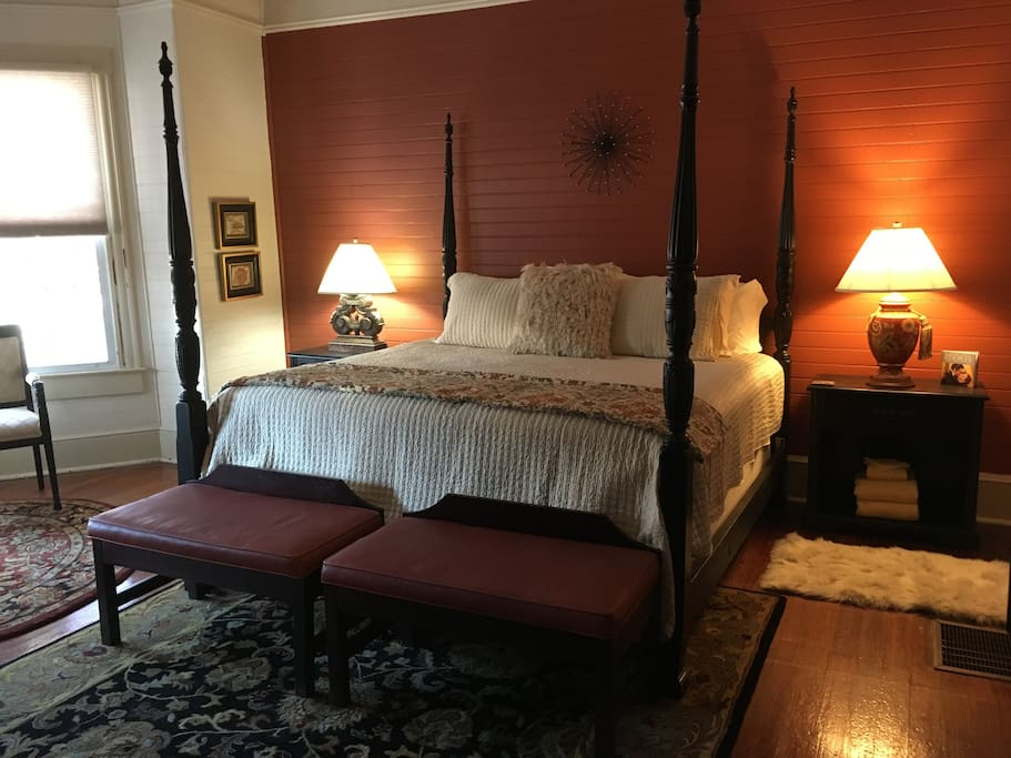 The Ebony Rouge is the most luxurious suite with King Bed & fine linens.