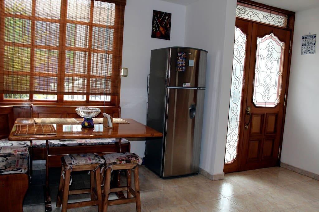 Dinning room and fridge