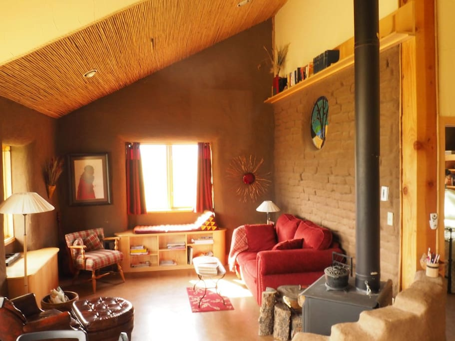 Living room in straw bale home.