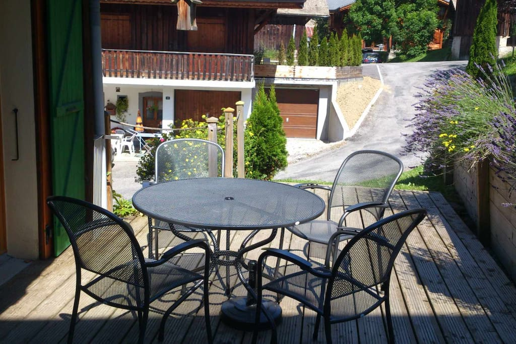 Patio at rear of kitchen (summer)