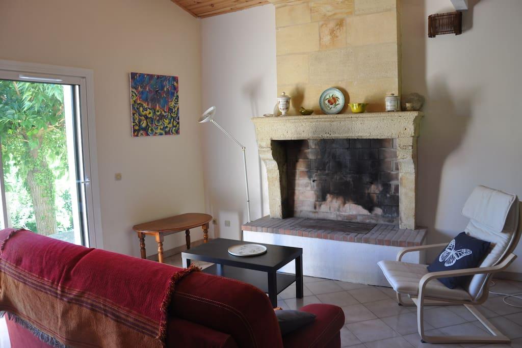Salon avec cheminée et TV