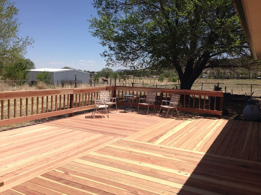 Newly built deck overlooking horse pastures.