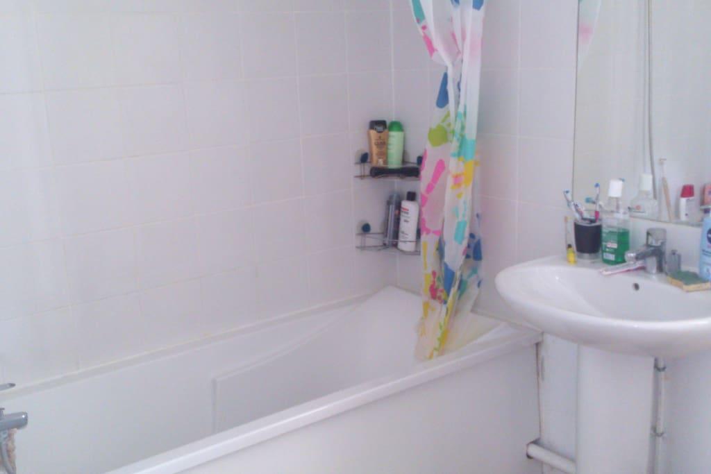 salle de bains équipé d'une machine à laver