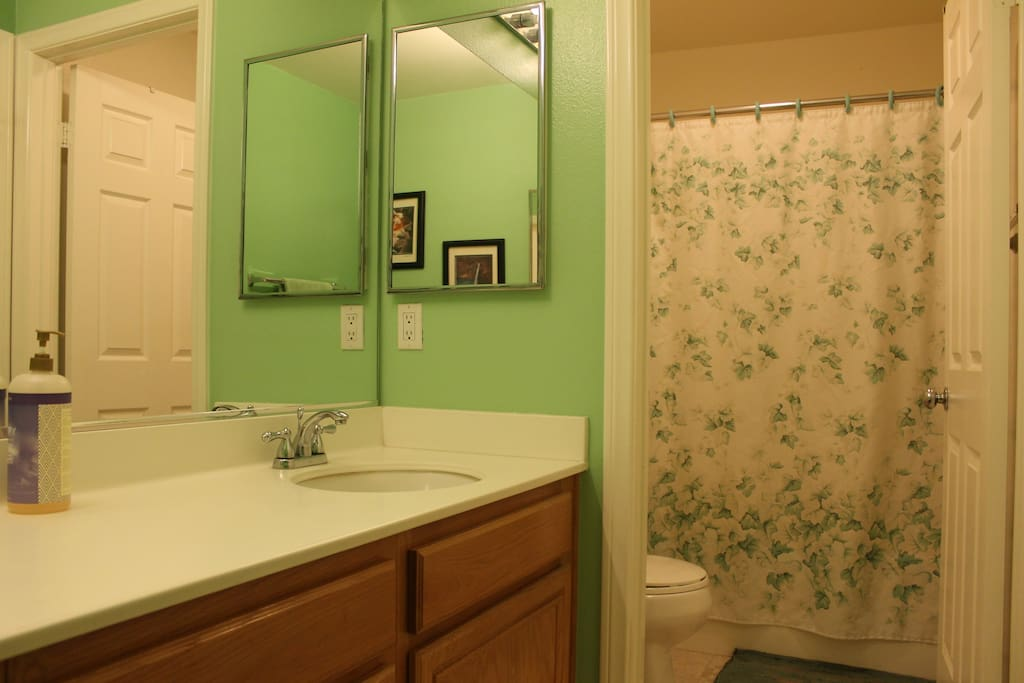 Two room bathroom (sink room, shower and toilet room). *shared with guest in other room*
