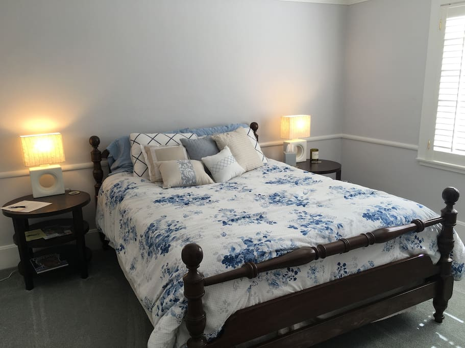 Queen bed on the first floor