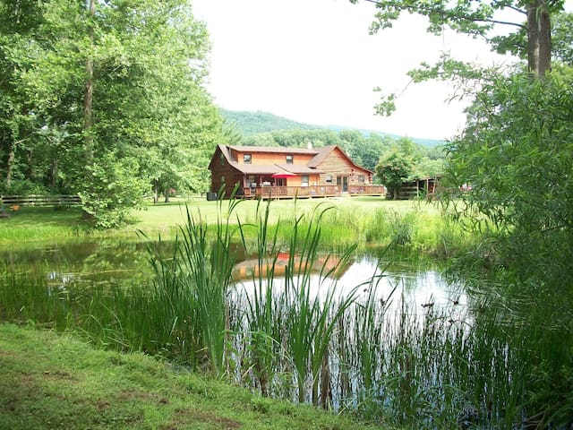 Log Cabin on Pond & Mountainview