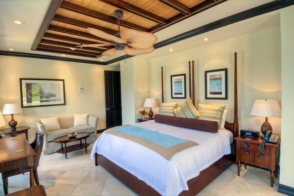 The master suites each come with a king bed, separate sitting area and their own private balcony to take in the beautiful Caribbean vistas.