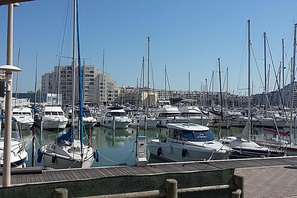 Vue du studio...  1 ère ligne face au port. Vue et accès direct sur les bateaux!