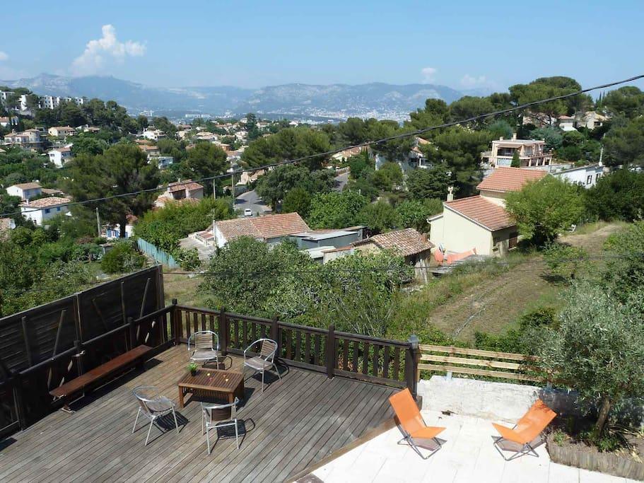 terrasse bas - vue sur la rade de Toulon