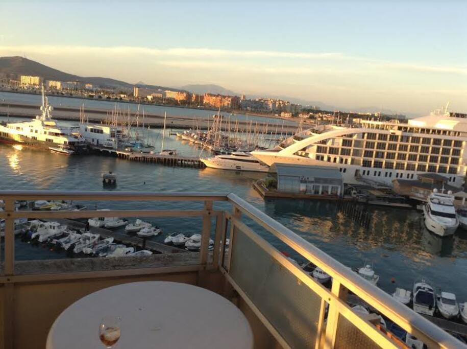enjoy a relaxing sunset drink on the  large L shaped balcony