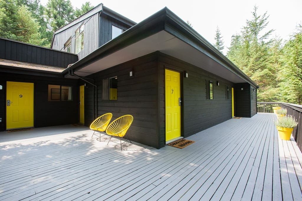 Lodge exterior with deck.